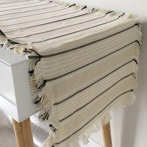 100% Cotton Handmade Table Runner | Black & White Stripes | Fringe Detail